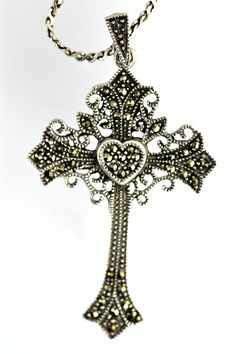 2 5//16 w// Oval Cut Garnet Stones tall Sterling Silver Marcasite Floral Cross Pendant 59 mm