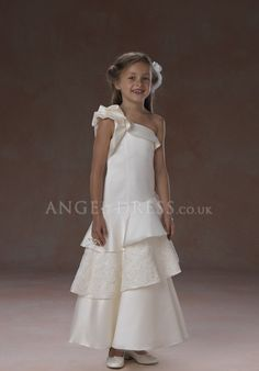 Satin One Shoulder A line Ankle Length Dropped Sleeveless Flower Girl Dresses