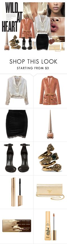 """""""Wild at Heart/CEO"""" by saikoh ❤ liked on Polyvore featuring Chanel, Alberta Ferretti, Christian Louboutin, Shoe Cult, Gucci, Prada, Too Faced Cosmetics, boss, silk and velvet"""