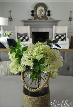 You can mix things up by using a lantern as a vase like we did with this one from HomeGoods that we filled with fresh cut bombshell hydrangeas from our yard. All Flowers, White Flowers, Dear Lillie, Have A Lovely Weekend, Hamptons House, Bottles And Jars, Beautiful Interiors, Shabby Chic Decor, Floral Arrangements
