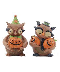 Another great find on #zulily! Halloween Owl & Pumpkin Figurine Set by Blossom Bucket #zulilyfinds