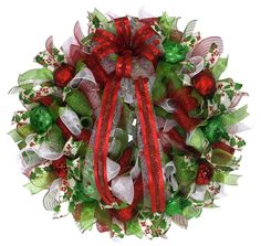 There is still time to get one for your front door. Traditional Red and Green Christmas Wreath.