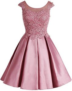 Bbonlinedress Womens Cap Sleeve Homecoming Dress Short Satin Appliqued Cocktail Party Dress Coral 2 *** Continue to the product at the image link. (This is an affiliate link and I receive a commission for the sales) Short Lace Bridesmaid Dresses, Pink Prom Dresses, Prom Party Dresses, Pretty Dresses, Homecoming Dresses, Evening Dresses, Short Dresses, Girls Dresses, Formal Dresses