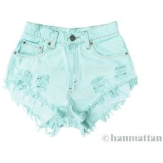 "ALL SIZES ""SEAFOAM"" Vintage Levi high-waisted denim shorts pastel mint... (1.005 CZK) ❤ liked on Polyvore featuring shorts, bottoms, pants, short, destroyed denim shorts, denim short shorts, distressed high waisted shorts, high-waisted denim shorts and stretch denim shorts"
