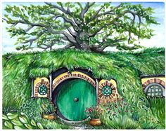 A personal favorite from my Etsy shop https://www.etsy.com/ca/listing/560397698/baggend-hobbit-hole-hobbiton-watercolor