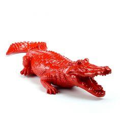 Statue Red Crocodile - Sculpture Maison ou Jardin - 70 x 12 x 26 cm Description du modèle :Crocodile, couleur rouge, verni…