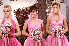 """Jennie Garth, Shannen Doherty, and Tori Spelling in Season 2 of """"Beverly Hills… Beverly Hills 90210, The Beverly, Jennie Garth, Shannen Doherty, Gossip Girl, Dawson Crece, Bridesmaid Dress Styles, Wedding Dresses, Bridesmaids"""
