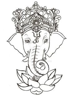 15 Super Ideas For Tattoo Elephant Head Mandala Lotus Flowers Ganesha Tattoo Mandala, Arte Ganesha, Ganesha Tattoo Sleeve, Buddha Tattoo Design, Lotus Kunst, Lotus Art, Lotus Tattoo, Arm Tattoo, Tattoo Ink