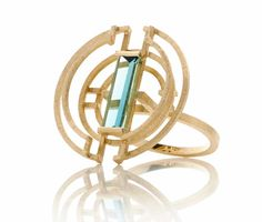 Shimmel and Madden Green Prism ring in yellow gold.