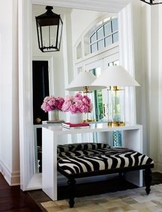 entry, mirror, animal print bench