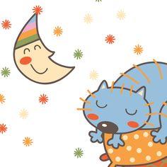 http://www.mimoinfantil.com.br/adesivos-para-quarto-de-bebe-gatinho/ Adesivos para quarto de bebê | Gatinho Dorminhoco - MimoInfantil.