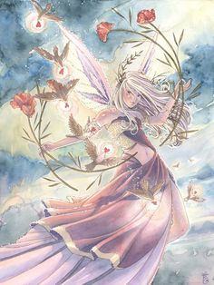 (via Pink Fairy Art Print Flying with Birds Hearts and by sarambutcher)