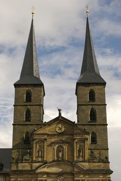 Two towers of St Michael's church in Bamberg.