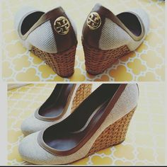 1161833b3db Tory Burch Wooden Wedges Pre loved but still in great condition! Nothing  you can