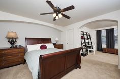Master suite with en suite bath, gas fireplace & spacious walk in closet.