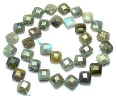 Faceted Square Labradorite Gemstone Beads.