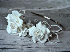 Bridal hair flowers Wedding headband Side tiara by RitzyFlowers