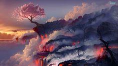 Anime Scenery Wallpaper, Tree Wallpaper, Landscape Wallpaper, Computer Wallpaper, Nature Wallpaper, Wallpaper Backgrounds, Hd Desktop, Mountain Wallpaper, Desktop Wallpapers