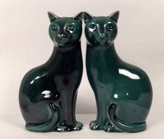 Pair Of Poole Pottery Siamese Cat Figurines, Ruby Lane