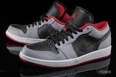 Air Jordan 1 Low Black Gym Red Cement Grey