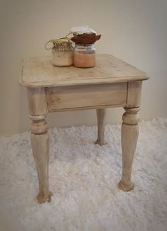 Shabby elegant end table antique distressed chic cottage hand painted by Julie Roberts. Check out www.elevateddecorco.com for more details and other one-of-a-kind home decor!