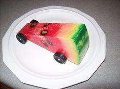 watermelon Pinewood Derby car - FINALLY a healthy alternative! Scout Mom, Girl Scouts, Daisy Scouts, Awana Grand Prix Car Ideas, Co2 Cars, Boys Life Magazine, Cars Birthday Parties, Car Birthday