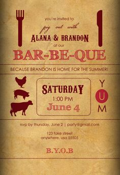 BBQ Wedding Reception Invite   LOVE This. Because We Want To Have A Pig  Roast!