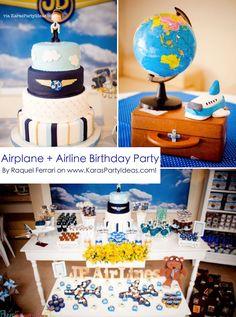 Airplane + Airline + Plane themed 1st birthday party via Kara's Party Ideas karaspartyideas.com #airplane #plane #airline #themed #birthday #party #idea #ideas #cake #decorations #favors #boys #dessert #games