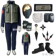 Buy Naruto Hatake Kakashi Cosplay Costume Set (Mask+gloves+headand+shoes) Size at Wish - Shopping Made Fun