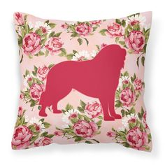 Tibetial Mastiff Shabby Chic Pink Roses Fabric Decorative Pillow BB1077-RS-PK-PW1414