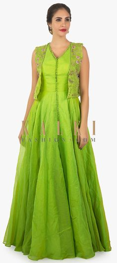 Buy Online from the link below. We ship worldwide (Free Shipping over US$100)  Click Anywhere to Tag Parrot green anarkali dress paired with a floral resham jacket only on Kalki-Green