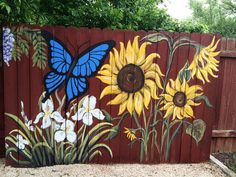 Part of three panel painted fence that I painted . Www.facebook.com/maeaustinartist