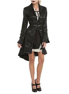 Military-inspired black brocade coat from Hearts & Roses with metal hardware and front button closure.<ul><li> 60% cotton; 37% polyester; 3% elastic</li><li>Wash cold; line dry</li><li>Imported</li><li>Listed in junior sizes</li></ul>