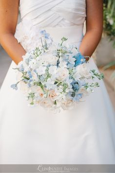 Ivory and soft blue wedding bouquet
