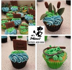 """Green and blue fishing cupcakes with fishing rods, Typha plants and """"Gone Fishing"""" signs by It's Mine Cakes"""