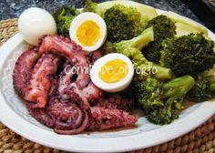 Polvo Cozido com Brócolos, Batatas e Ovo