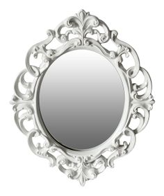 "White Baroque Oval Mirror | zulily- resin- $17.99- 16.5"" W x 21 H x 2.5 D"