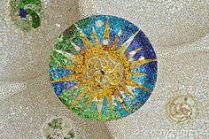 Mosaic Sun At Guell Park Royalty Free Stock Images - Image: 22742119