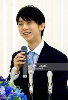 CHINA OUT SOUTH KOREA OUT Figure skater Yuzuru Hanyu speaks during a press conference on June 8 2015 in Nagoya Aichi Japan