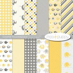 Yellow and Gray Elephant Digital Scrapbook Paper por mooandpuppy