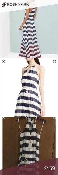 Ted baker striped maxi dress, size 4 Tall, new NWT   Ted Baker London  Size 1 T, fit us size 4 Tall  Bold stripes are in the spotlight this season, and this racerback maxi intensifies the punch with a color-blocked border. A halter-style keyhole neckline with a goldtone ornament adds face-framing polish, while a bead-tipped tie defines the waist for the voluminous A-line style.  - Back button-loop closure at neck  - Halter-style keyhole neck - Sleeveless  - Racerback  - Removable tie belt…