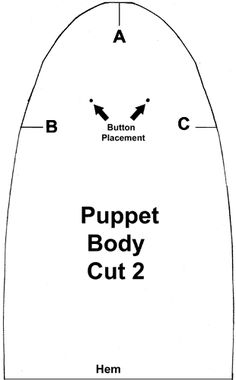 The Hand Puppets we are making has two pattern pieces as shown below