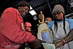 YMCMB's 17th annual Thanksgiving Day turkey giveaway in New Orleans, courtesy of Derick G. Lil Wayne, Birdman, Slim, Mack Maine, Lil Chuckee, Detail, Chris Richardson and Dhea.