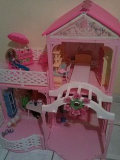 Barbie House Pink N' Pretty Dollhouse 1995 Beautiful Fully Furnished Look | eBay
