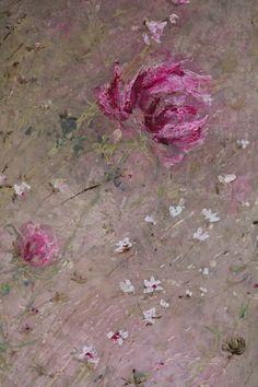 "Note this painting ""Laurence Amélie aux jardins de Bagatelle ! - Grange de charme""  can be used as backdrop for flower arrangement (cornflowers and peonies perhaps)"