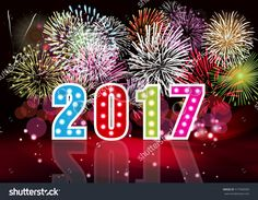 Happy New Year 2017 With Fireworks Background Ilustración vectorial en stock 517940593 : Shutterstock