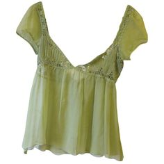 Pre-owned Lime Green Sheer Flowy Top ($87) ❤ liked on Polyvore featuring tops, lime top, vintage tops, sheer top, transparent top and see through tops