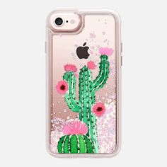 Casetify iPhone 7 Glitter Case - Cactus watercolor n.1 by Psychae #Casetify