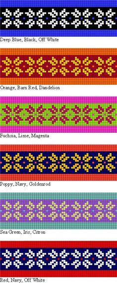 posibilidades colorwork para el patrón que hace punto libre de dos hebras Diadema para la enseñanza de estilo trenzado tejer noruego y Fair Isle