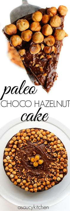 Paleo Chocolate Hazelnut Cake with a chocolate avocado frosting | www.asaucykitchen.com